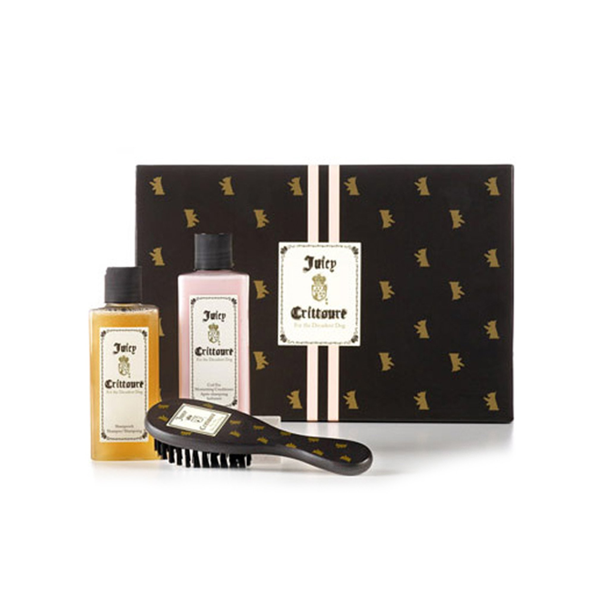 Juicy Crittoure by Juicy Couture | 3-Piece Gift Set | Shampoo (8 fl oz), Conditioner (8 fl oz), & Dog Brush