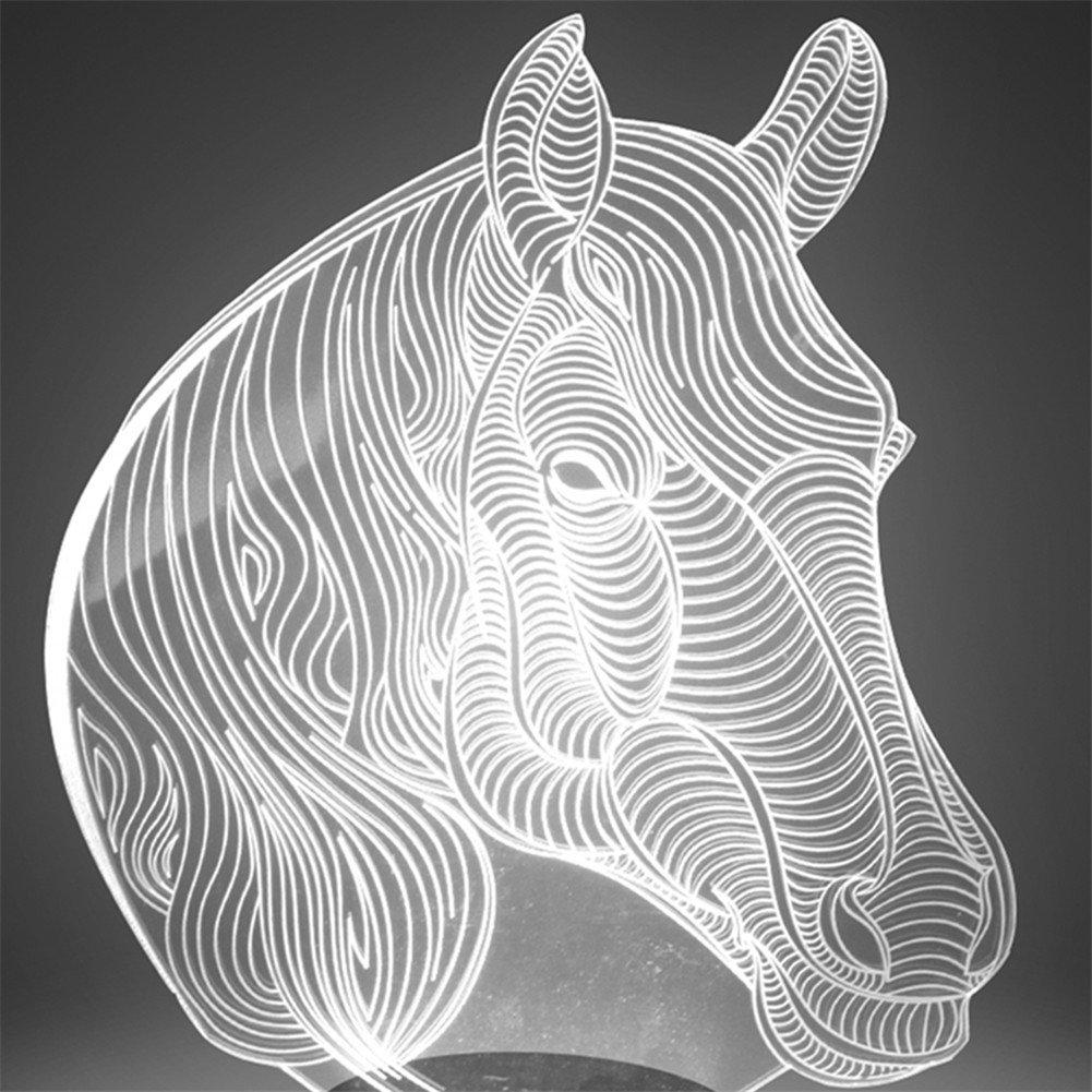 馬/ Owl Night Light and交換可能プレート YKLBAN001 B073J9BJPY 11316 Plate - Stallion Plate  Stallion