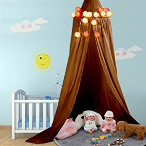 Yosoo Baby Bedding Round Dome Bed Canopy Kids Play Tent Hanging Mosquito Net Curtain for Baby Kids Reading Playing Sleeping Room Decoration, Yellowish-Brown