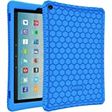 """Fintie Silicone Case for All-New Amazon Fire HD 10 Tablet (7th Generation, 2017 Release) - [Honey Comb Series] [Kids Friendly] Light Weight Shock Proof Back Cover for Fire HD 10.1"""" Tablet, Blue"""