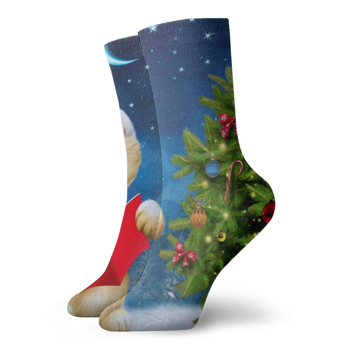 WEEDKEYCAT Christmas Tree Cat Card Adult Short Socks Cotton Sports Socks for Mens Womens Yoga Hiking Cycling Running Soccer Sports