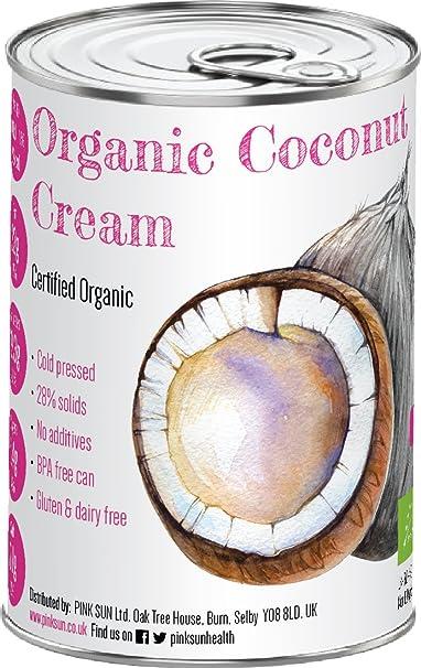 Crema de Coco Orgánico 400ml Leche Alternativa para Cocinar (o lote de 12) en Estaño sin ...