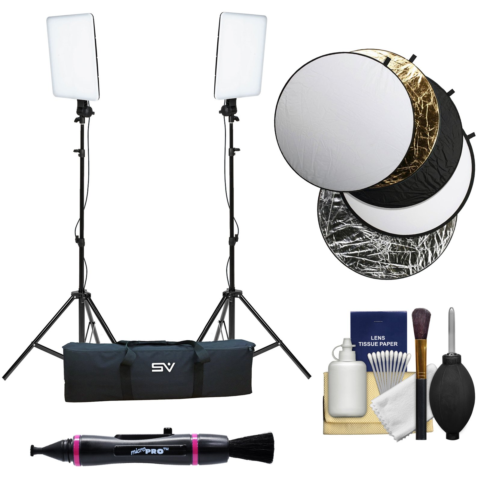 Smith-Victor SlimPanel 800 Watt Daylight Two LED Light Kit with Stands & Case with Reflector Disk + Cleaning Kit