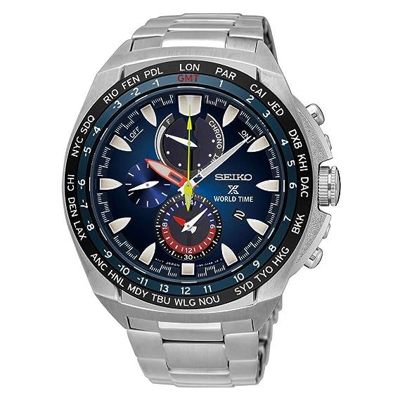 Seiko Reloj Cronógrafo para Hombre de Energía Solar con Correa en Acero Inoxidable SSC549P1: Amazon.es: Relojes