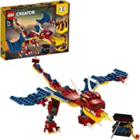 LEGO Creator 3in1 Fire Dragon 31102 Building Kit, Cool Buildable Toy for Kids