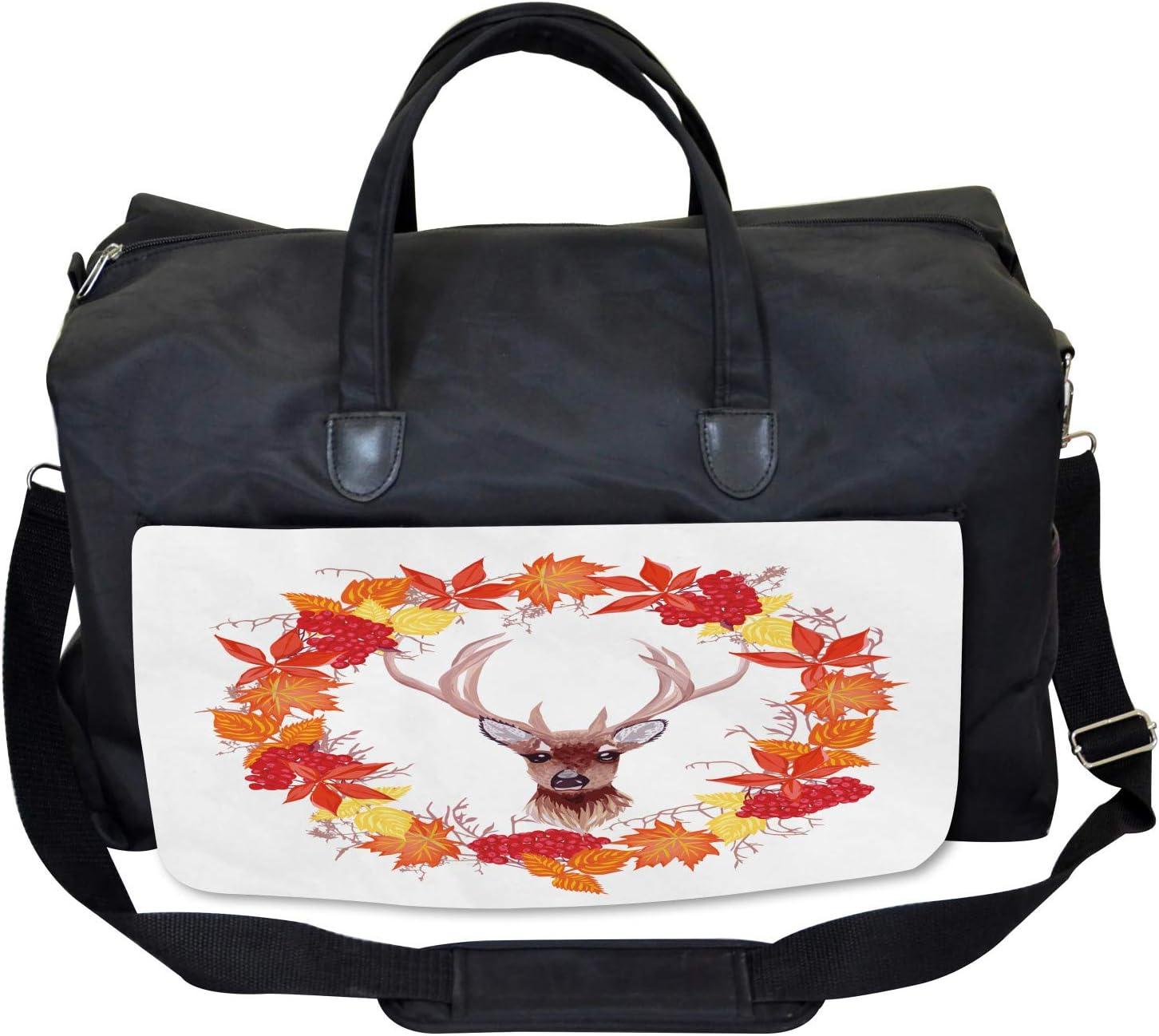 Autumn Leaves Wreath Art Large Weekender Carry-on Ambesonne Deer Gym Bag