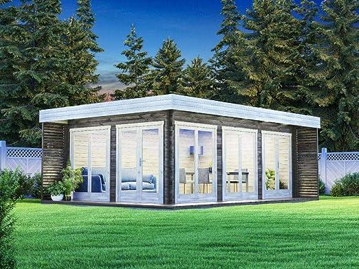 Carlsson Alpholz Viva B - Casa de jardín de madera maciza con 44 mm de grosor de pared, incluye material de montaje, tamaño: 588 x 400 cm, tejado plano: Amazon.es: Jardín