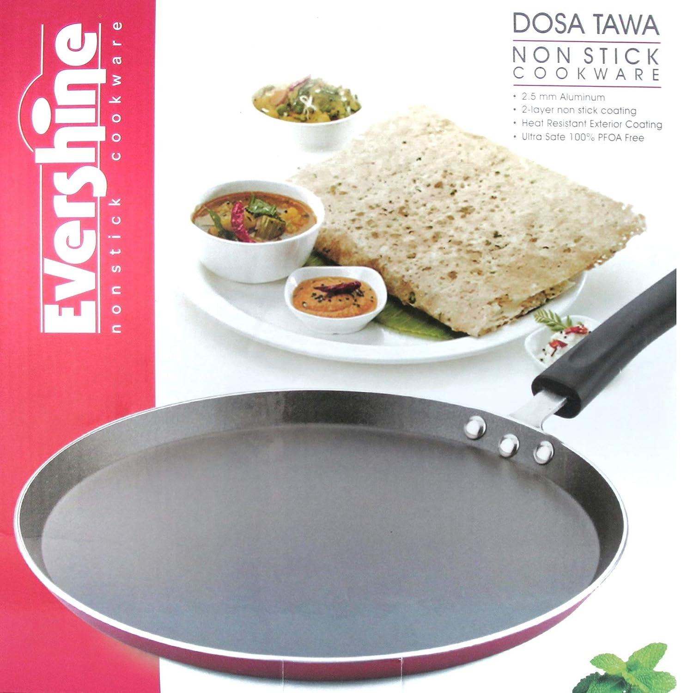 PFOA-free 12 inch Crepe Pan by EVERSHINE Roti Tawa Dosa Tava Pancake Pan Nonstick Hard-Anodized Aluminium Dosa Pan Roti Tava Dosa Tawa Roti Pan