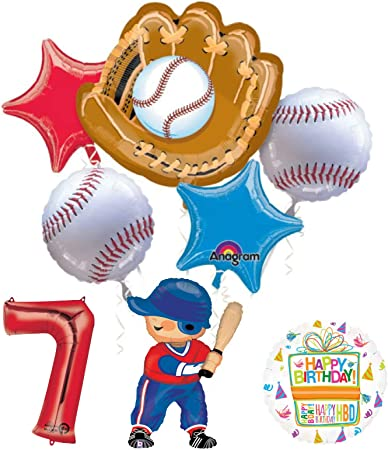 Baseball Player 7th Birthday Party Supplies Balloon Bouquet Decorations