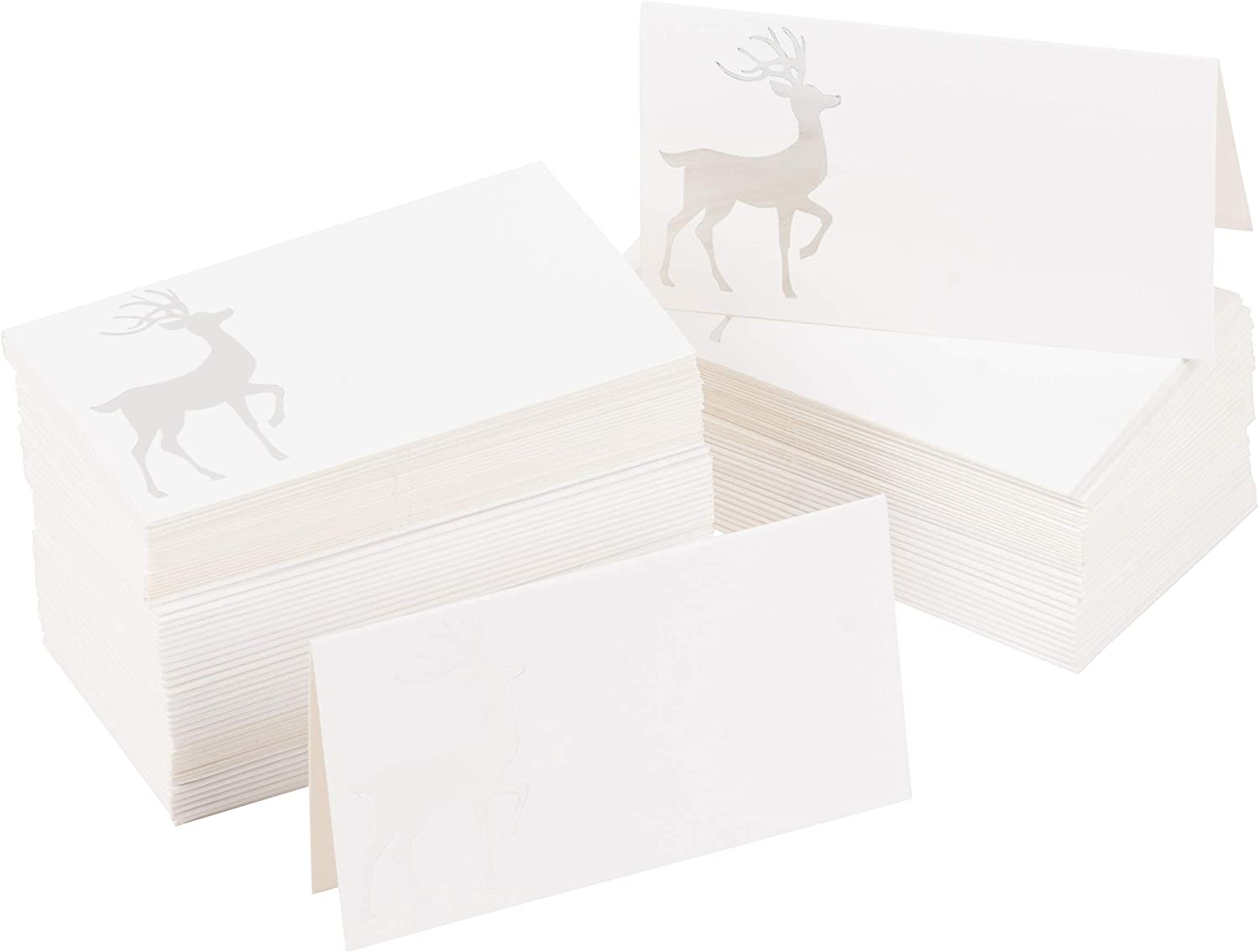 Christmas Tent Placecards, Silver Reindeer Foldover Table Cards (100 Pack, 2 x 3 In): Office Products