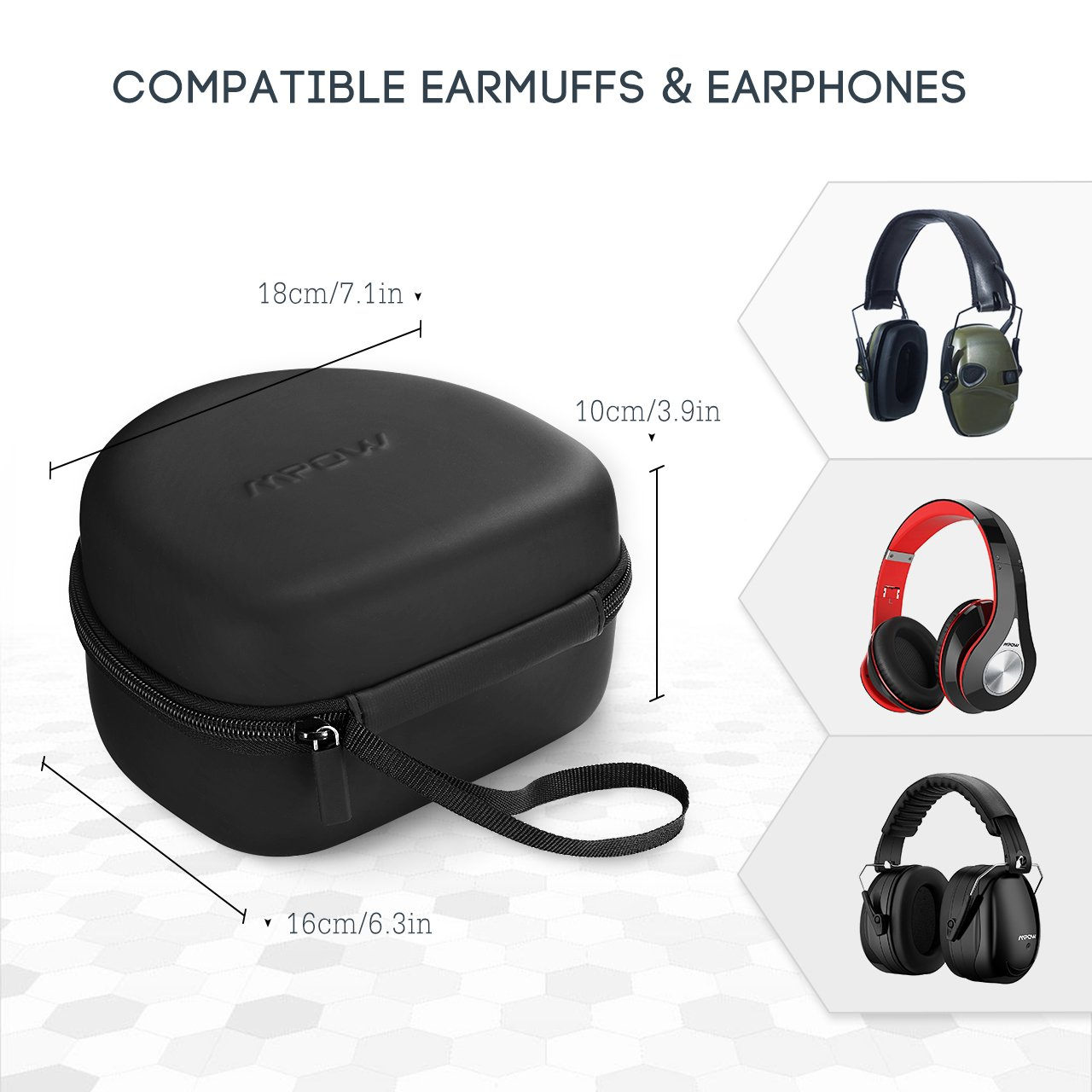 Mpow Earmuff Case for Mpow 035/068/108 Noise Reduction Safety Ear Muffs, Hard Travel Case EVA Hardshell for Mpow 059/H1/H2/H5 Foldable Headphone, Travel Carrying Case with Mesh Pocket for Accessories by Mpow (Image #6)