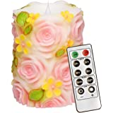 simpdecor Christmas LED Candles 3D Flickering Pillar Flameless Candle Battery Operated Candle with Timer and Remote (4x4.5''),Rose Pink