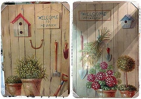 Stampe Per Cucina Country : Set 2 quadri shabby stampa su tela 50x70 fiori piante stile country