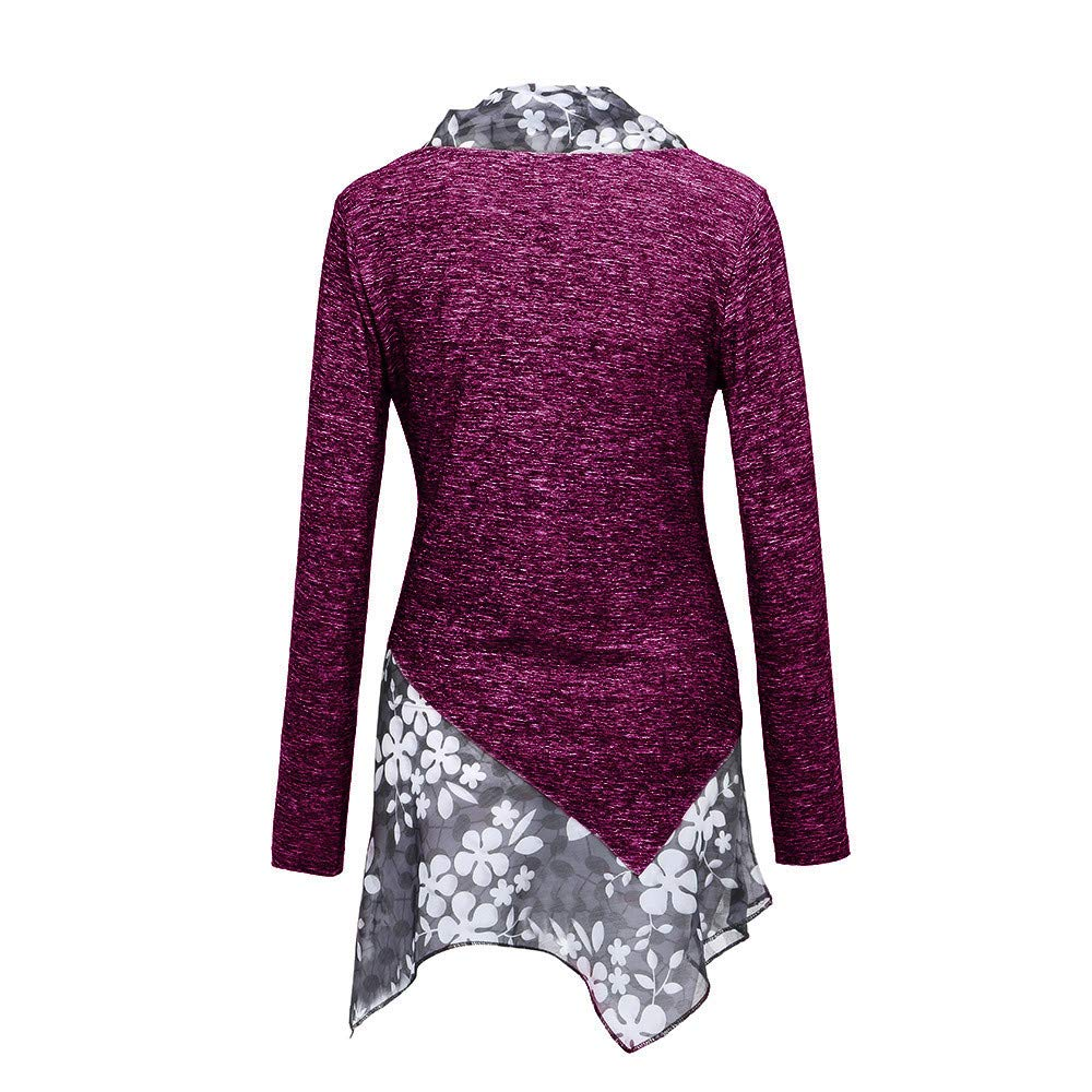 Fartido Women Blouse Patchwork Irregular Hem Long Sleeve Button Tunic Tops