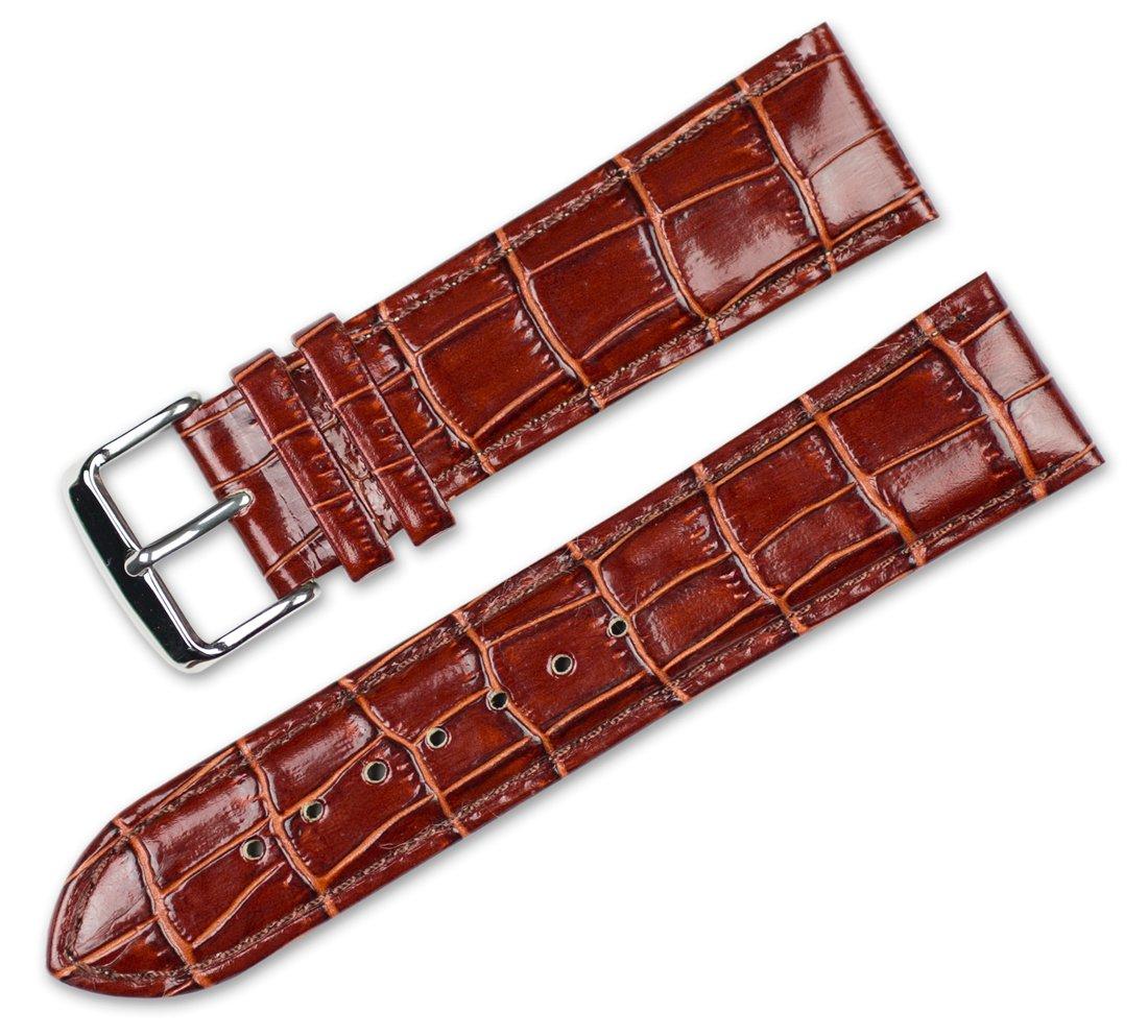 Crocodile Grain Watchband (Chrono) Havana 20mm Watch band - by deBeer