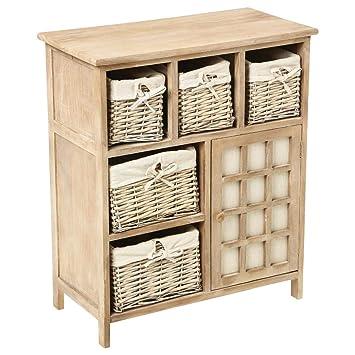 Amazon.com: Atmosphera – Cómoda de madera con 5 cestas de ...