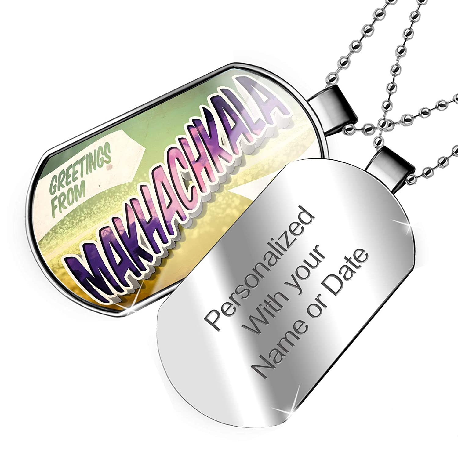 NEONBLOND Personalized Name Engraved Greetings from Makhachkala Vintage Postcard Dogtag Necklace