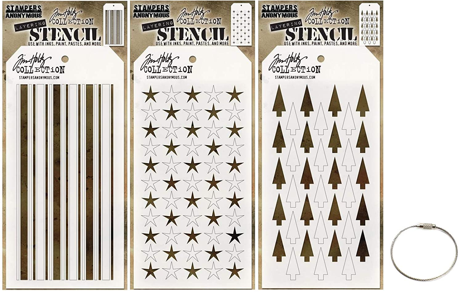 Tim Holtz Shifter Stencils - Shifter Mint, Shifter Stars and Shifter Tree - Winter 2018 Set Includes Cable Ring - 4 Items Stampers Anonymous