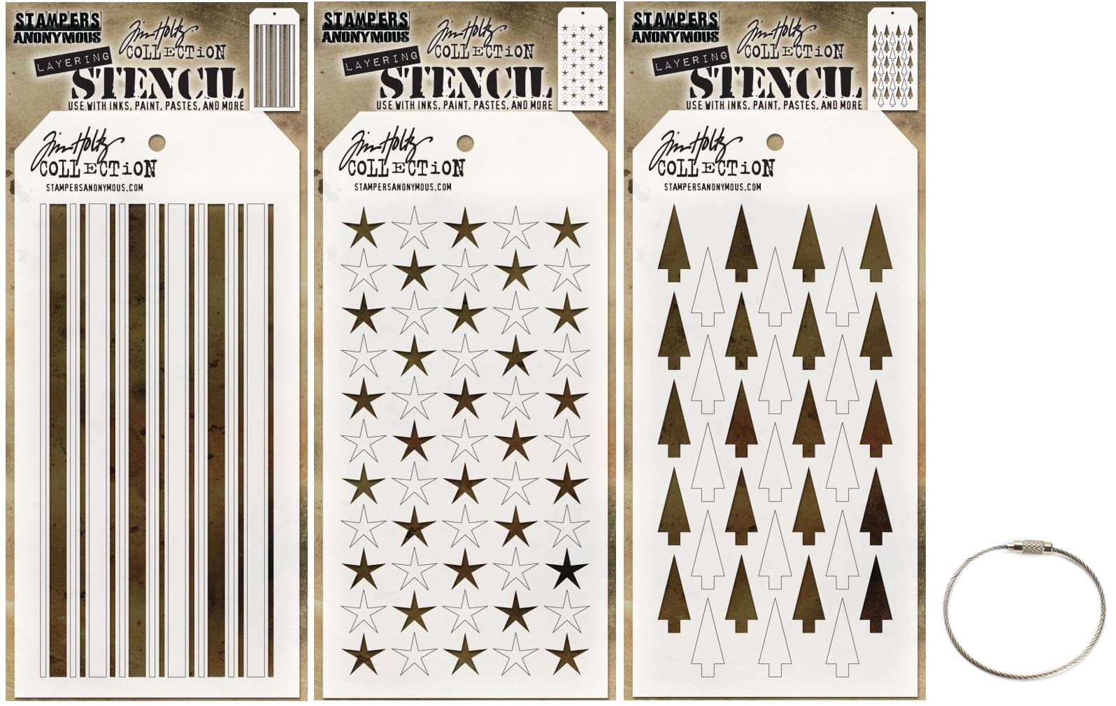 Tim Holtz Shifter Stencils - Shifter Mint, Shifter Stars and Shifter Tree - Winter 2018 Set Includes Cable Ring - 4 Items by Tim Holtz
