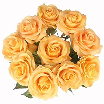 Amazon Ipopu Artificial Silk Flowers Fake Rose Flowers With