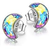 Kami Idea Pendientes para mujer - Luna nueva - Plata esterlina 925, Cristales Aurore Boreale de Swarovski, símbolo de…