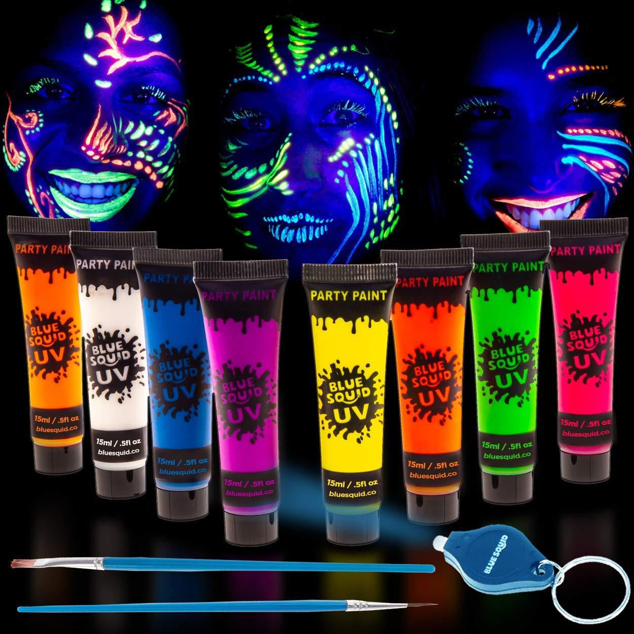 Blue Squid UV Glow in The Dark Face & Body Paint - Set of 8 0.5oz Tubes Black Light Reactive Neon Liquid Paints