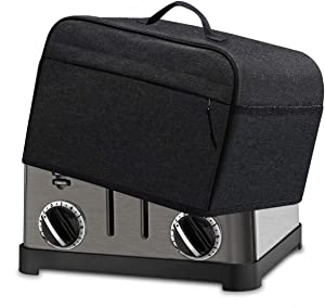 INMUA 4 Slice Toaster Cover with Pockets, Toaster Appliance Cover with Top handle, Dust and Fingerprint Protection, Machine Washable (Black)