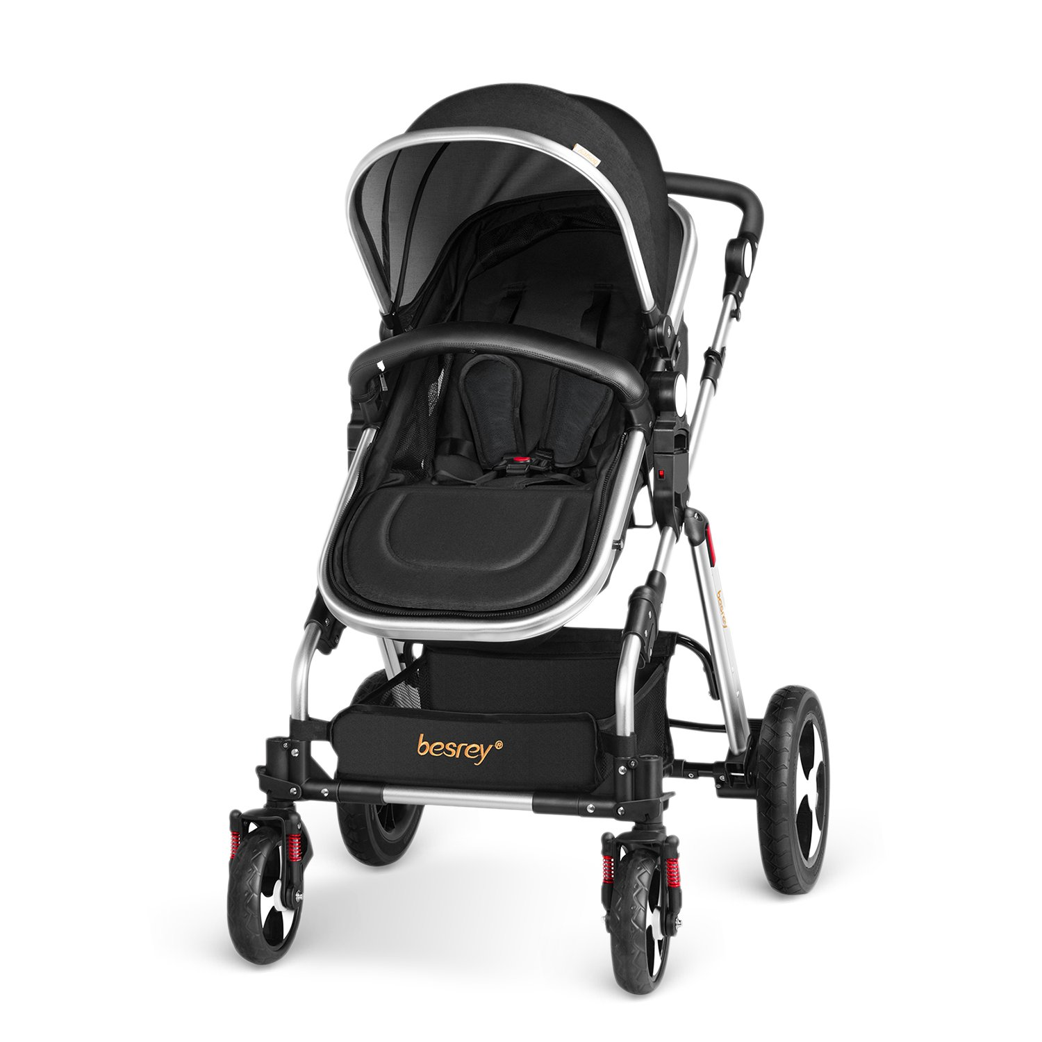 Besrey 2 in 1 Pushchair Baby Reclining Stroller Newborn Travel System Buggy with Shock Absorbers - Black BR-C7046