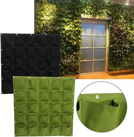 Yosoo - Sistema de jardinería vertical colgante para pared, 25 bolsillos para plantación al aire libre, manta vertical Verde: Amazon.es: Hogar