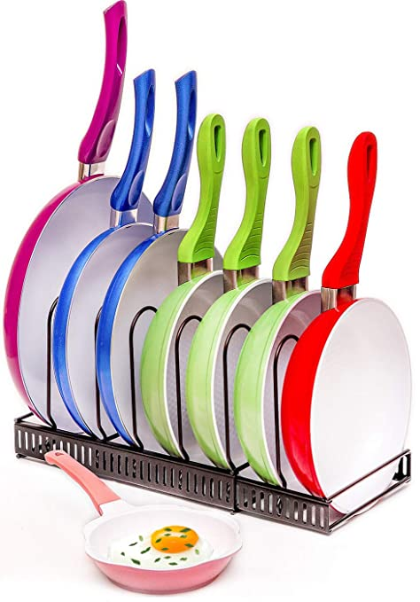 Organizador de ollas y sartenes extensible – Capacidad para 7 sartenes y tapas para mantener los