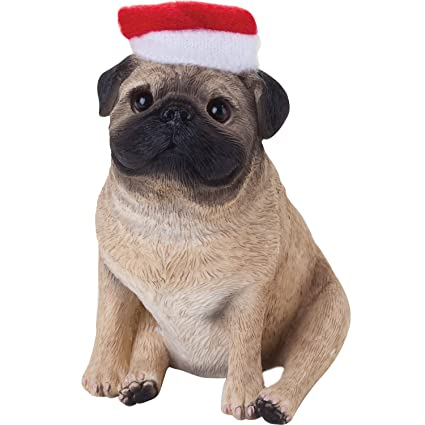 Sandicast Fawn Pug with Santa Hat Christmas Ornament - Amazon.com: Sandicast Fawn Pug With Santa Hat Christmas Ornament