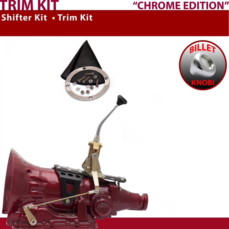 American Shifter 445021 727 Shifter 8 Trim Kit CHR Dual Shift BLK Boot Billet Knob for E0E2E