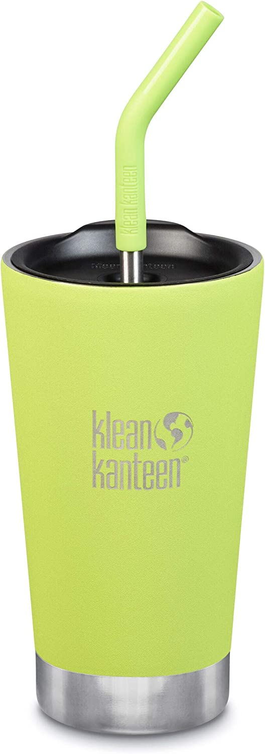 Klean Kanteen Stainless Steel Double Wall Vacuum Insulated Tumbler Cup with Straw Lid, 16-Ounce, Juicy Pear
