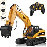 AOKESI Remote Control Excavator, 16 Channel Full Functional RC Construction Excavator with 2.4G Transmitter, Three in…