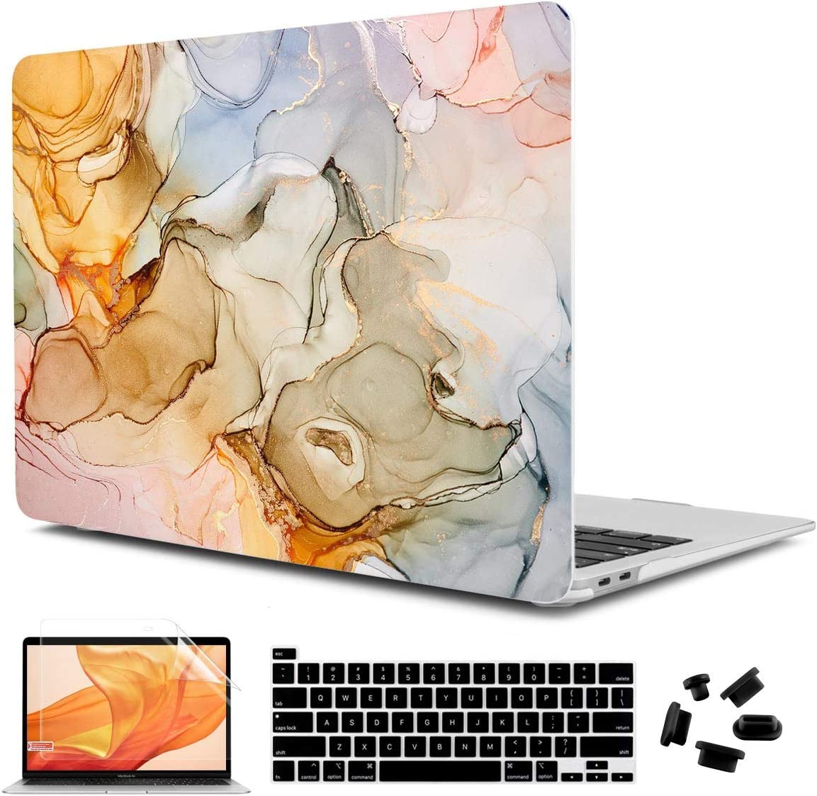 "CiSoo Laptop Hard Shell Case for MacBook Pro 13 2020 Release Model A2289 A2251, Plastic Marble Pro Cover for Mac Pro 13"" Touch Bar with Keyboard Cover & Screen Protector, Golden Marble"