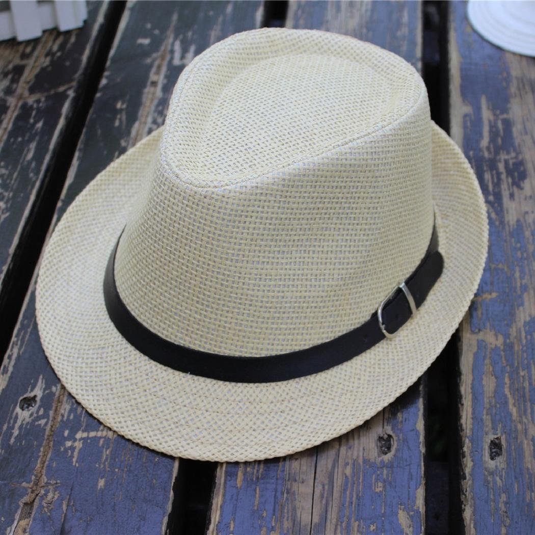 dc05dd55872b75 Amazon.com : ShenPourtor Men/Women's Summer Panama Style Trilby Fedora  Straw Sun Hat with Leather Belt (Navy Blue) : Grocery & Gourmet Food