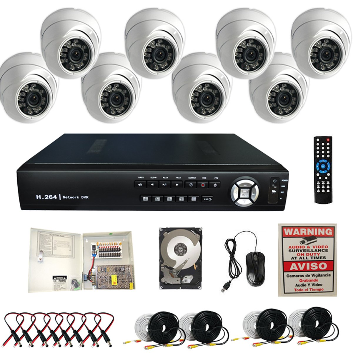 Amazon.com : Evertech 8CH H.264 VIDEO COMPRESSION REAL-TIME DVR Clouid Option CCTV Surveillance System with 8 Dome Security 700TVL Aptina Cameras-2TB HDD ...