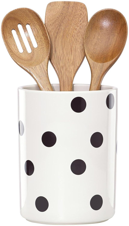 KSNY All in Good Taste Deco Dot Dw Utensil Crock, White Lenox 856734
