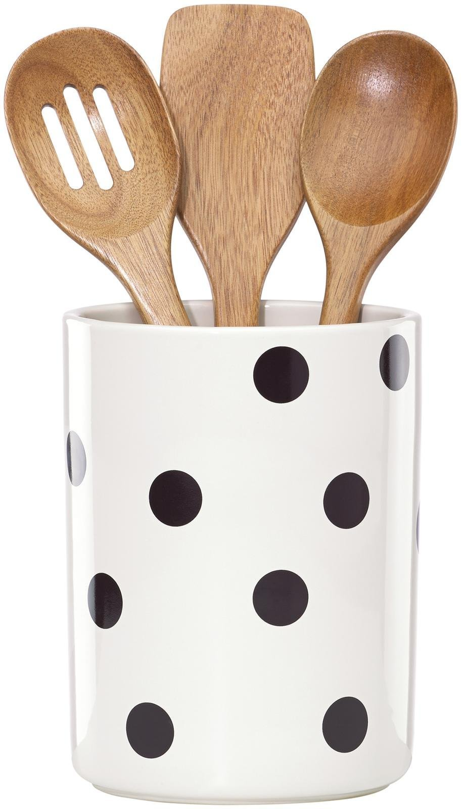 KSNY All in Good Taste Deco Dot Dw Utensil Crock, White