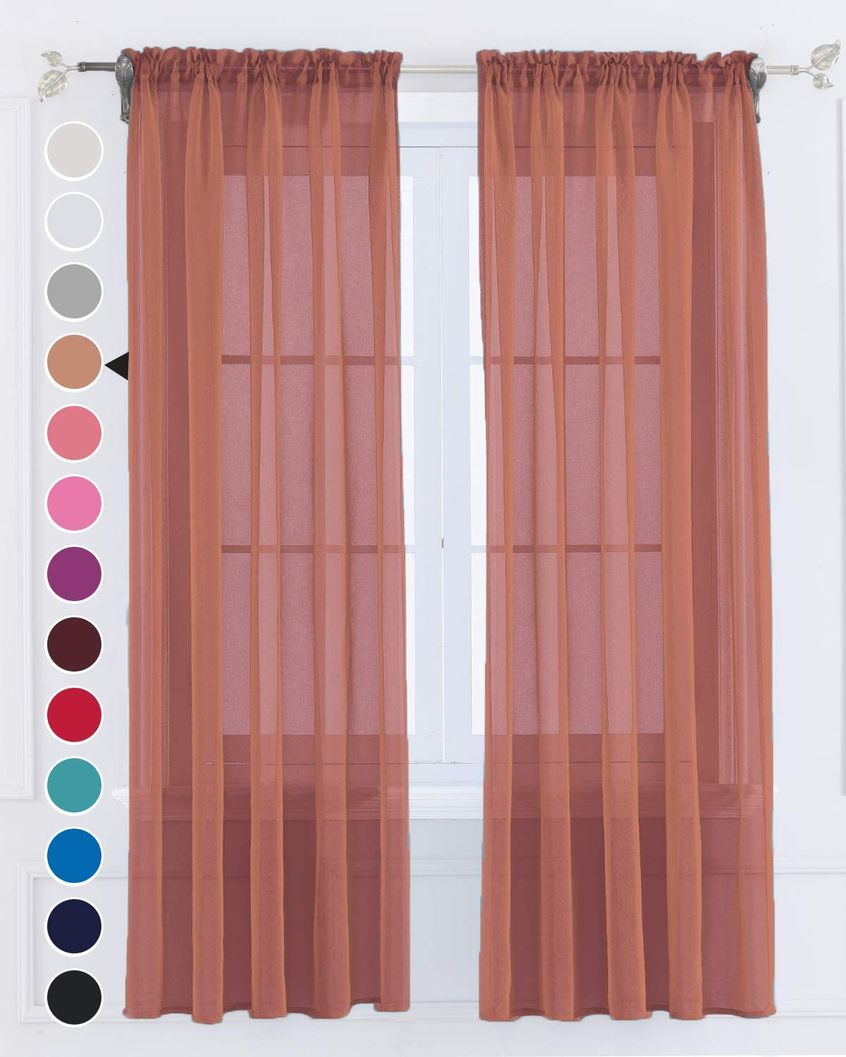 Semi Terracotta Sheer Curtains 84 inches Long 2 Panels Set for Living Room Privacy Window Drapes Solid Tulle Voile Light Filtering Rod Pocket Yard Patio Villa Parlor Kitchen(Terracotta,W52 X L84)