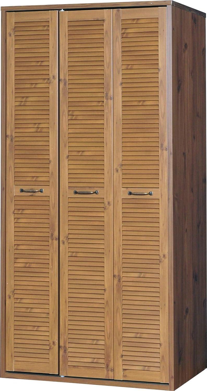 ワードローブ 収納 衣類収納 タンス 高さ185cm 大容量 クローゼット 折れ戸 ルーバー 木製 ハンガー付き 棚付き 北欧 おしゃれ ブラウン 150cm幅 B07KCWRVQV 150cm|ブラウン ブラウン 150cm