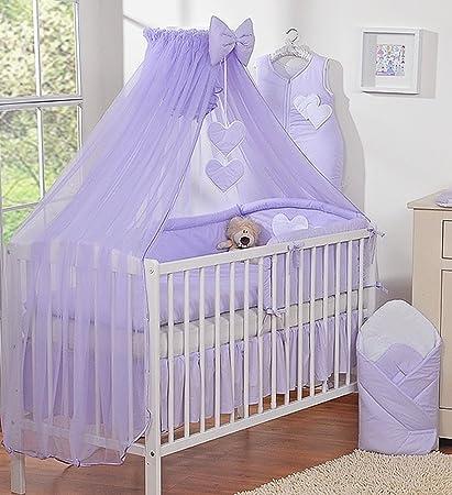 Dosel de cama infantil con mosquitera, tamaño grande, diseño de corazones, color morado