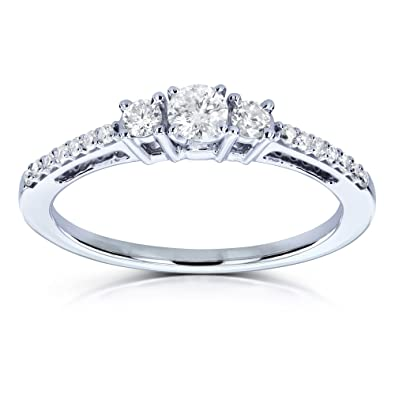 8fb60b034e7553 Three Stone Round Diamond Engagement Ring 1/4 Carat TW in 10k White Gold -