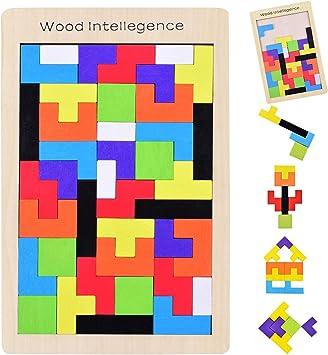 YoungRich Tetris de Madera Tangram Puzzle Bloques de Construcción Juego Tetris del Juguete Rompecabezas de Madera Colorida Caja para Niños Imaginación Intelectual Educativa Aprendizaje y Actividad: Amazon.es: Juguetes y juegos