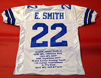 2b47cc4b4 EMMITT SMITH AUTOGRAPHED DALLAS COWBOYS STAT JERSEY EMMITT SMITH HOLOGRAM