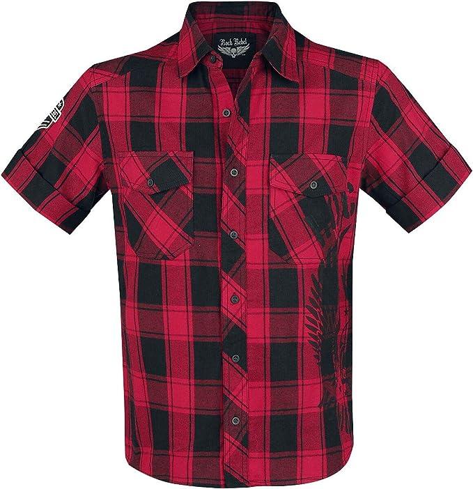 Rock Rebel by EMP Hard Decisions Hombre Camisa Manga Corta Rojo, Patches Regular: Amazon.es: Ropa y accesorios