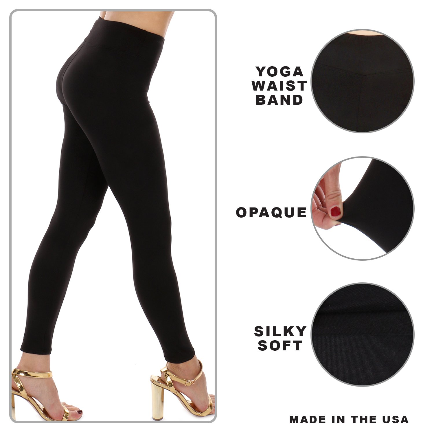 87c0c04ca18995 Premium Soft High Waist Yoga Capri Cropped Leggings-One Size Fits Three  Sizes-Made In The USA (Navy, Median size/7-18 (M, L, 1XL)) at Amazon Women's  ...