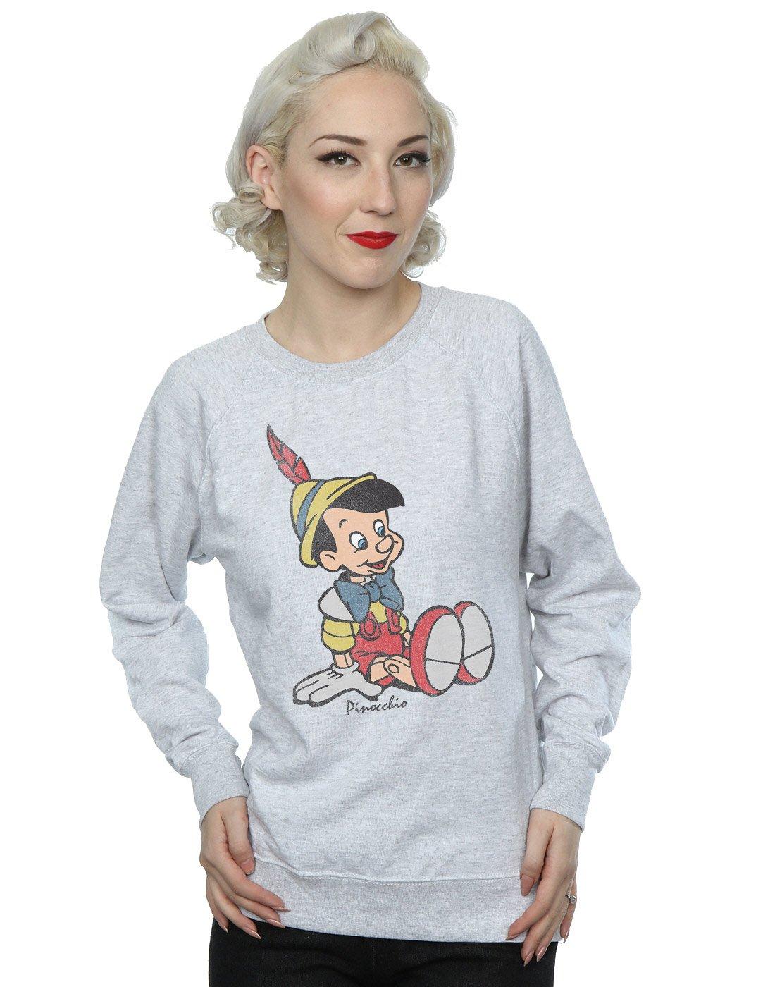 Disney Women's Classic Pinocchio Sweatshirt Small Heather Grey by Disney (Image #1)