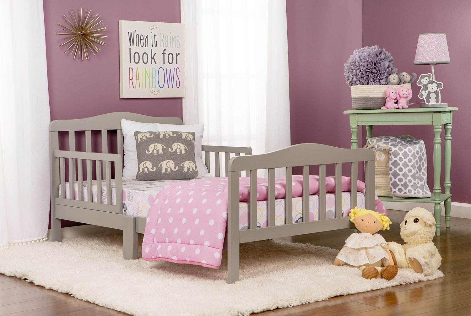 Cool grey Dream On Me Classic Design Toddler Bed