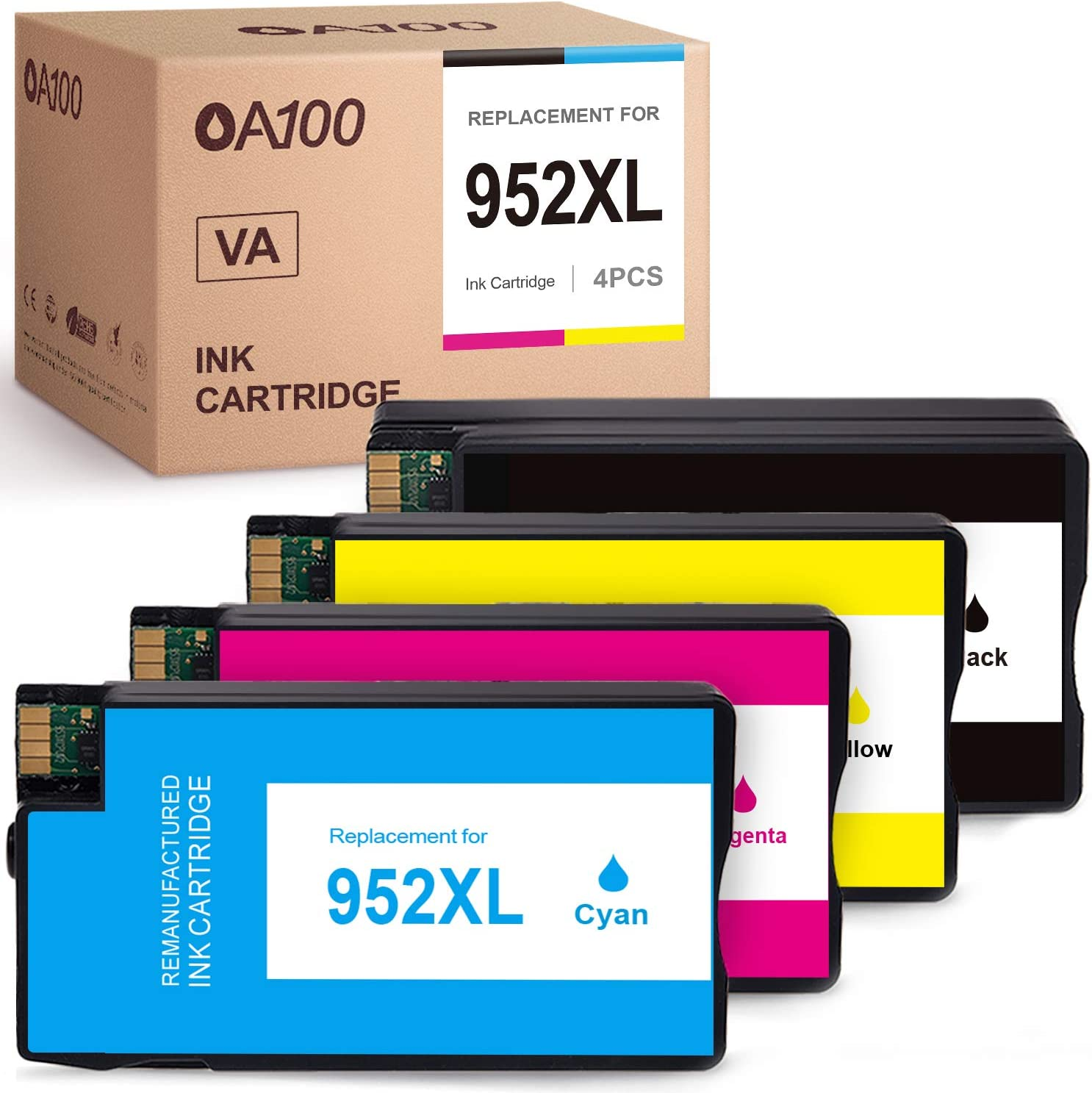 OA100 Remanufactured Ink Cartridge Replacement Upgraded Chip for HP 952XL 952 XL for OfficeJet Pro 8710 8720 8702 8715 8740 7720 8200 8210 8730 8216 7740 8700 (Black, Cyan, Magenta, Yellow, 4-Pack)